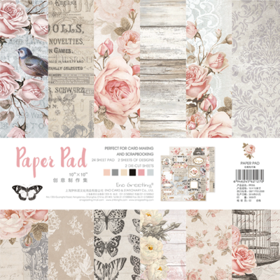 NEW! ENO Greeting Scrapbooking Paper Pad 10inch Rose Garden Scrapbooking Paper Set DIY Decoupage Kit