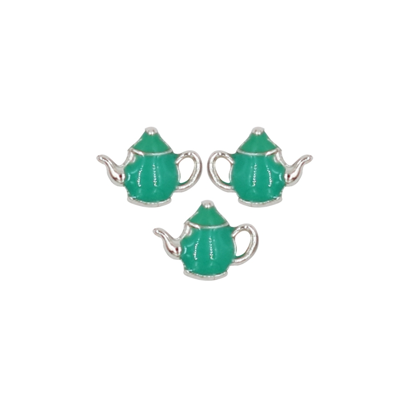 20PCS Cute Green Teapot Alloy Floating Charms Fit Glass Locket Charms DIY Jewelry Accessories