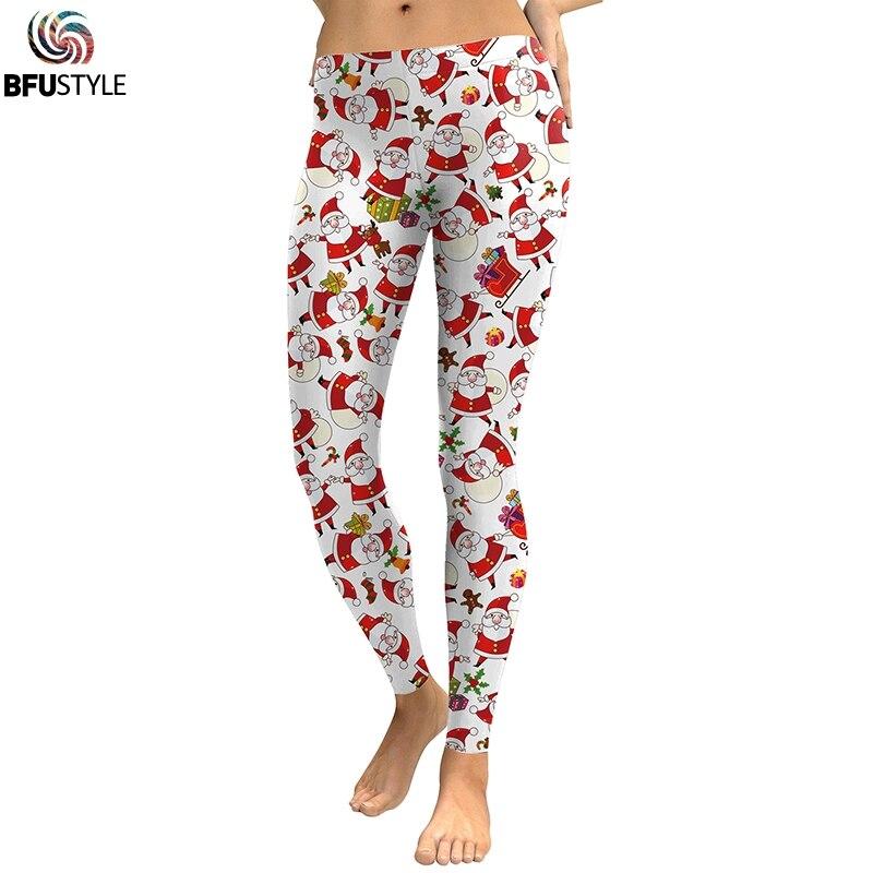 Nightmare Before Christmas Santa 3d Printing Women Fitness Leggings Workout Push Up Leggins Mujer Elastic Waist Winter Jeggings