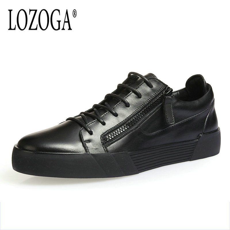 Lozoga Luxury Quality Men's Shoes Black Genuine Leather Men Casual Shoes Comfortable Lace Up Fashion Sneakers Zipper Flat Shoes 2017 fashion red black white men new fashion casual flat sneaker shoes leather breathable men lightweight comfortable ee 20
