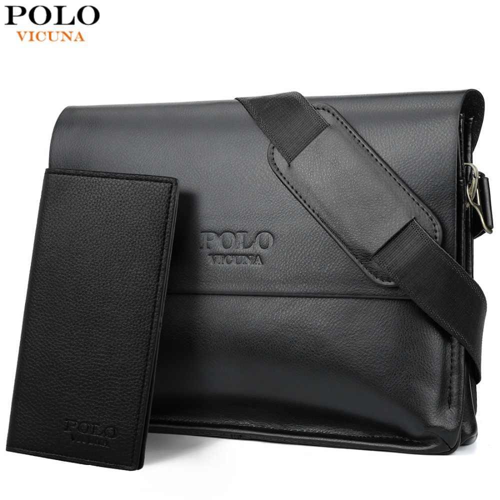 a2ff1ed4c6645 VICUNA POLO Deri Erkek Çanta Iş Rahat askılı çanta Yüksek Kaliteli erkek  Marka Siyah/Kahverengi