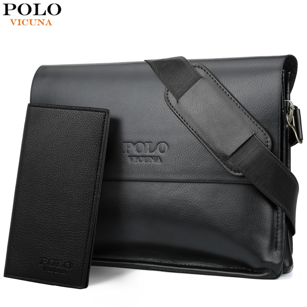 e0b8190dc2 VICUNA POLO Leather Men Bag Business Casual Messenger Bag High Quality  Men s Brand Black Brown