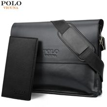 267a887a05c0b فيكونيا بولو جلد الرجال حقيبة الأعمال عارضة حقيبة ساعي عالية الجودة الرجال  العلامة التجارية أسود