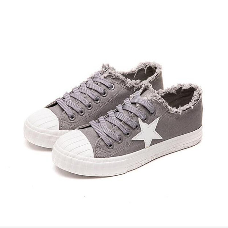 Femmes Rose Toile Noir Sneakers gris Vulcaniser Dame Sur Zapatillas Tenis Casual Chaussures blanc Star rose Femme Feminino Plat Slip Blanc Mode Lumière w6qw7B