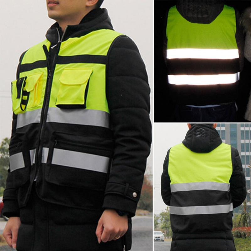 1Pc Security Visibility Reflective Vest Warp Knitting Cloth Construction Traffic Cycling Wear Reflective Safety Clothing New