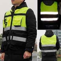 1Pc sécurité visibilité gilet réfléchissant chaîne tricot tissu Construction trafic vêtements de cyclisme réfléchissant sécurité vêtements nouveau
