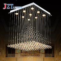 Best Price L80xW80xH100cm Modern K9 Square Crystal Chandelier Restaurant Lamp Hanging Wire Pyramid Crystal Lamp Project Lights