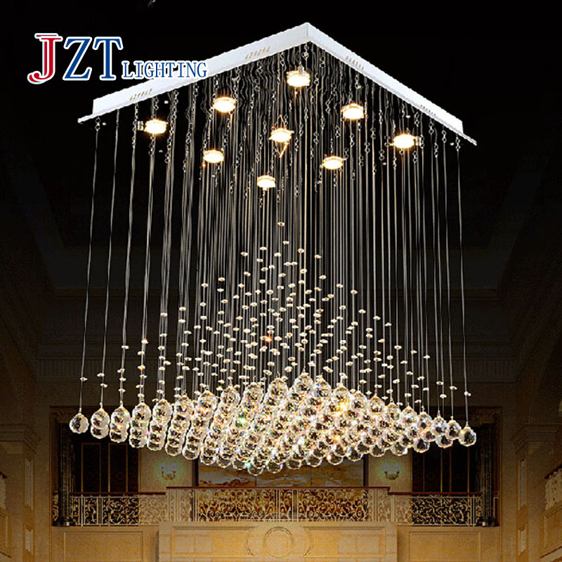 Z Best Price L80xW80xH100cm Modern K9 Square Crystal Chandelier Restaurant Lamp Hanging Wire Pyramid Crystal Lamp Project Lights best price creative pyramid crystal light bedroom restaurant lamp led hanging wire crystal lamp ceiling lights free shipping