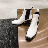Новое поступление; ботильоны; кожаная женская обувь; Брендовая обувь для подиума; ботинки «Челси» с металлическим декором; ботинки с квадра