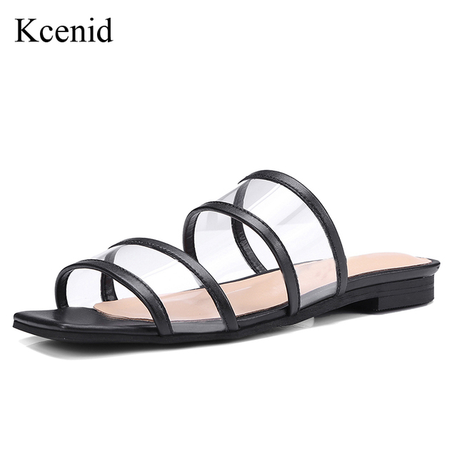 Kcenid 2018 Summer new genuine leather flat shoes transparent PVC women  slippers fashion open toe black white gold women sandals f07036b906a1
