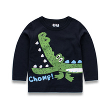 Boys T Shirts For Children Crocodile Printing Long Sleeve Kids T-shirts Spring Autumn Toddler Cartoon Tees Baby Tops Clothing