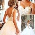 Robe de mariee vestido de 2017 Vestidos de Bola Del Vestido de Boda de perlas de cristal de china vestido branco vestido de noiva princesa casamento luxo