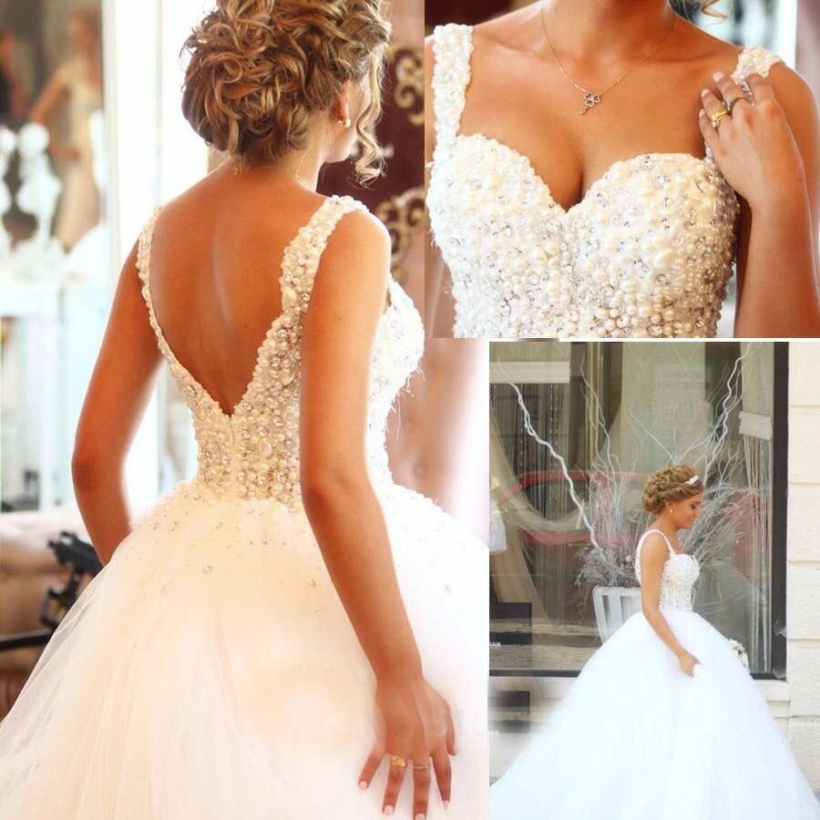 Vestidos De Novia Specialtillverkade Bollkavaj bröllopsklänningar Plus-storlek tyll Billiga bröllopsklänningar 2018 robe de mariage