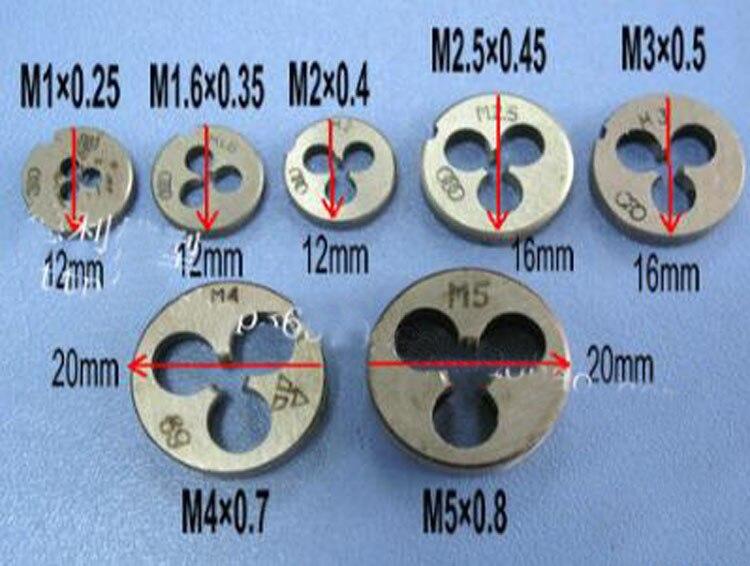Yuenhoang 2 шт./лот круглого типа die зубы M6 * 1.0 мм M5 * 0.8 мм M4 * 0.7 мм m2 * 0.4 мм M2.5 * 0.45 мм краны доска зубы RC модель DIY инструмента