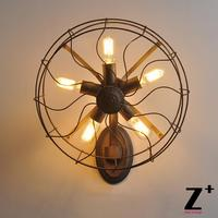 Промышленные Винтаж кованого металла гладить вентилятор, настенный светильник edsion луковицы 5 x E27 Бесплатная доставка