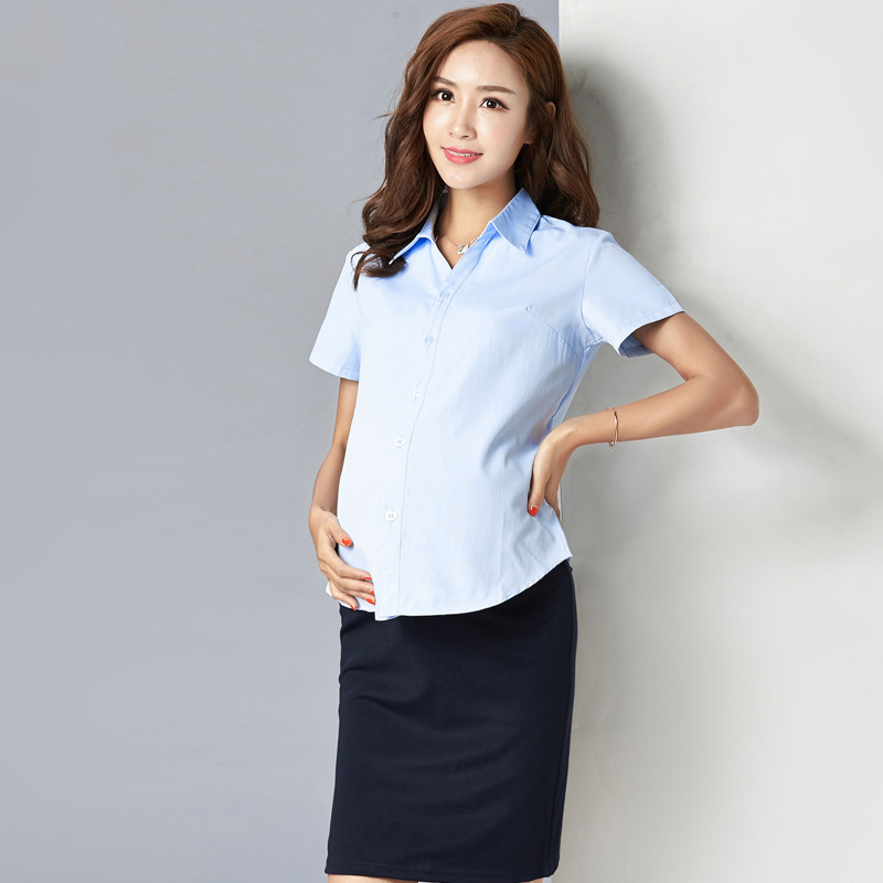 163153666f489 Pregnant Women's Shirts White Long Sleeves Short Spring and Autumn Clothes  Maternity Clothing Professional Work Clothes