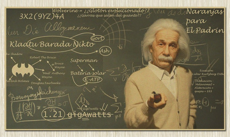 Living room Antique Einstein Chart Vintage Kraft Paper Poster Retro Wall Art Crafts Sticker Home Decor For Bar Pub Cafe 57x35cm