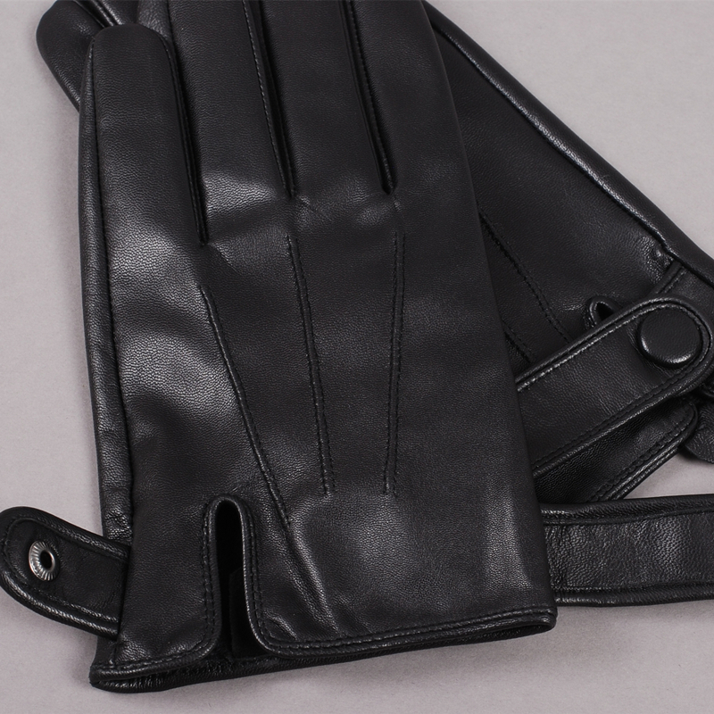 Image 4 - Gours Winter Genuine Leather Gloves Men New Brand Goatskin Black Fashion Driving Touch Screen Gloves Goatskin Mittens GSM036gloves sandgloves mengloves lycra -