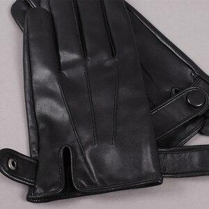 Image 4 - Gours guantes de piel auténtica para hombre, guantes de piel de cabra a la moda, negros, para conducir, con pantalla táctil, GSM036