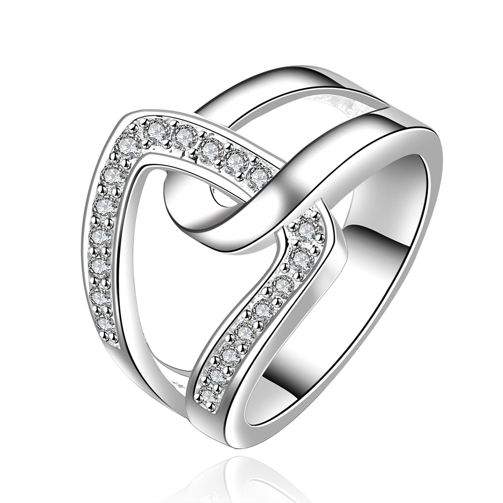2016 new Top quality Silver Plated & Stamped 925 drop cross wide stone ring for women wedding Finger Rings Wholesale