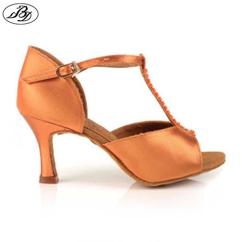 Latin Dance Shoes BD 222 Ladies Dark Tan Satin Dancing Shoes  Professional High Heel  Sandal Napped Leather Sole Doble Salsa цены онлайн