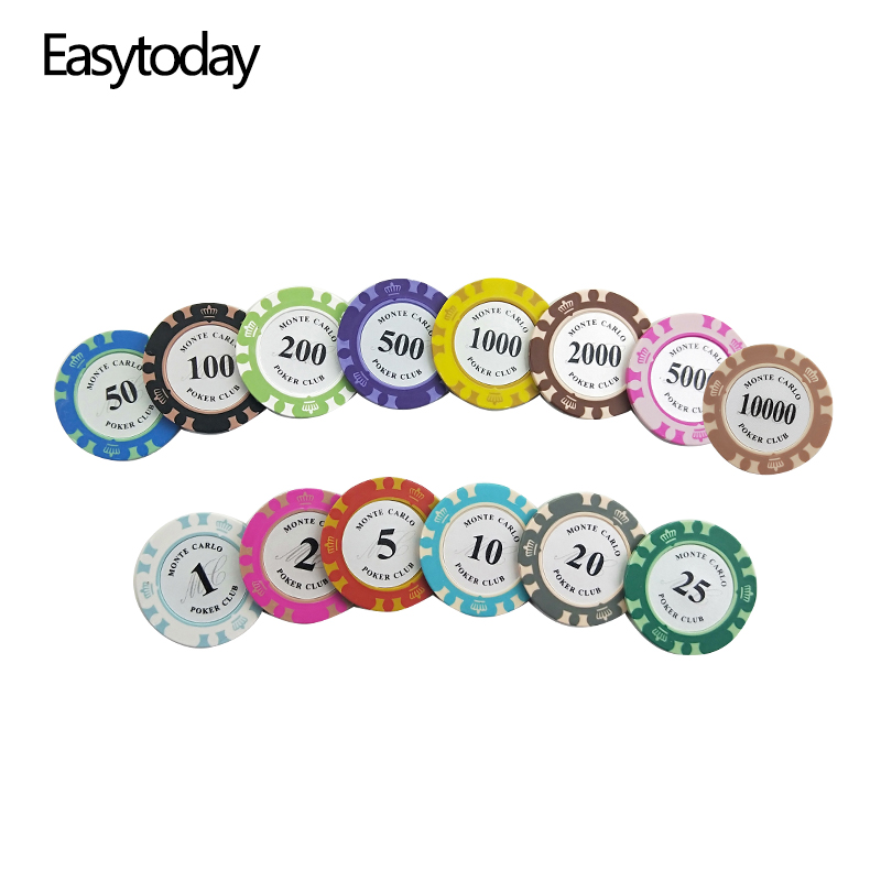 Easytoday 25PCS Set Clay Poker Chips Set 14 Colors Face Value Coins Baccarat Texas Hold 39 em Poker Entertainment Poker Chips in Poker Chips from Sports amp Entertainment
