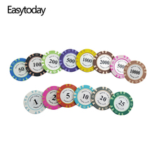 Easytoday 25PCS/Set Clay Poker Chips Set 14 Colors Face Value Coins Baccarat Texas Holdem Entertainment