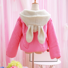 2016 new winter Japanese sweet cute rabbit ears Hooded Jacket thick warm zipper coat