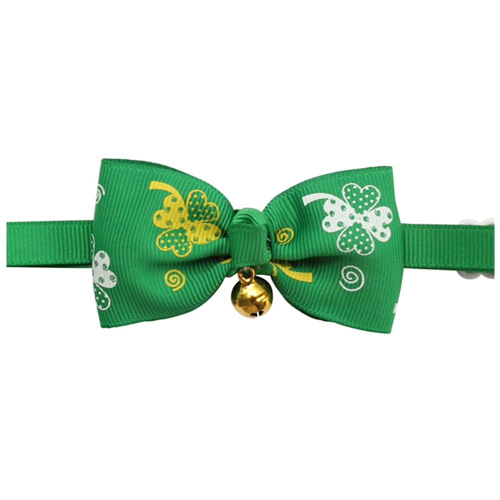 50 Pcs Handmade Saint Patricks Day Dog Bow Tie Green Ribbon Bell Decoration Dogs Ties Bows 6031080 Pet Accessories Wholesale