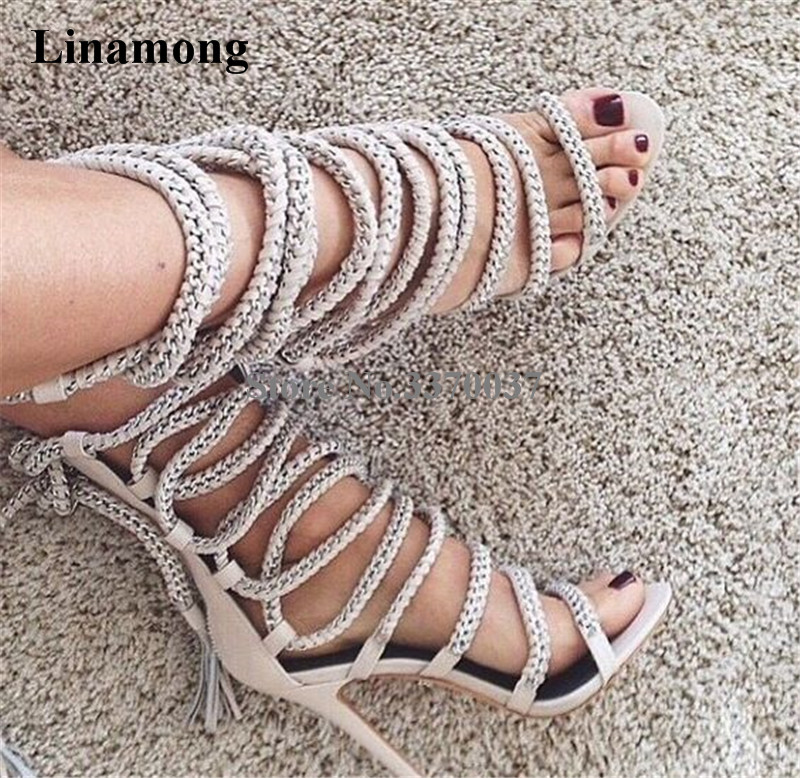 Women Summer Fashion Open Toe Suede Leather Chain Design Gladiator Short Boots Cut-out Lace-up High Heel Sandal Boots Dress Shoe телевизор kraft ktvc 3904ledt2d tg