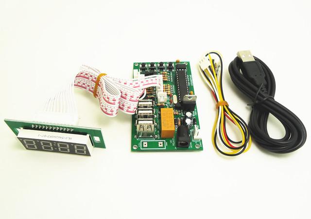 JY-18B-2 moeda operado placa tempo USB com visor separado controle de tempo de Alimentação para carga da bateria USB