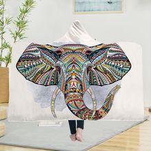 Yoga mat Explosive Hooded Blanket Cloak Magic Hat Thick Double-layer Plush 3D Digital Printing Elephant Series