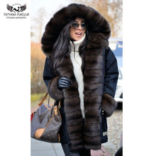 купить Tatyana Furclub New Winter Women Parkas With Natural Fox Fur Collar Thick Warm Coat Black Long Fur Jacket Casual Parka Outwear дешево