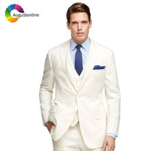 Latest Designs Ivory Linen Suits Men 2019 Custom Made Groom Suit Blazer Jacket 3Piece Vintage Trajes De Hombre Traje