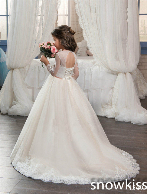 2018 Ivory/white flower girl dress for beach wedding with lace ...