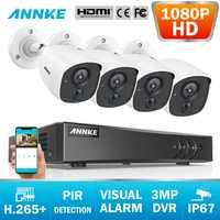 ANNKE 8CH 3MP 5in1 CCTV DVR HD 4 PCS TVI Sicherheit Kamera PIR Erkennung Outdoor Kugel Kamera Home Video Überwachung system Kit
