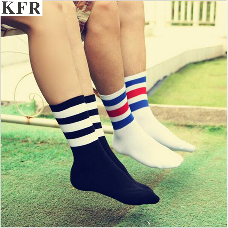 3 Three Stripes Socks Cotton Harajuku Off White Black Happy Art Funny Hip Hop Women Men Fashions Ankle Crew Kanye West