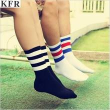 3 Three Stripes Socks Cotton Harajuku Off White Black Happy Art Funny Hip Hop Women Men Fashions Ankle Crew Kanye West