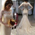 2017 Ivory Lace Wedding Dress Sheer Neck Long Sleeves Wedding Gowns Mermaid Covered Button Court Train Vintage Bridal Dress