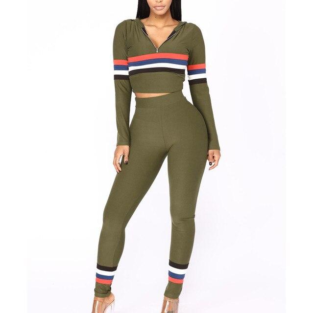 Free Ostrich 2018 Autumn 2 Piece Set Women Tracksuit Sportswear Casual Sweat Pants Hooded Cropped Sweatshirt Hoodie N30