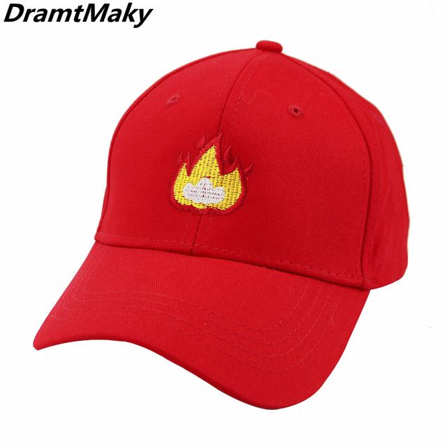Cool flame Dad Baseball Cap Fire embroidery Hat Polo Style Unconstructed  Fashion Unisex Men Women cap hats Wholesale Cool New 5b62692679a