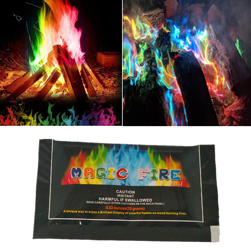 15g Magic Fire Colorful Flames Pyrotechnics Mystical Fire Bonfire Fireplace Pit Patio Outdoor Camp Flame Magic Props