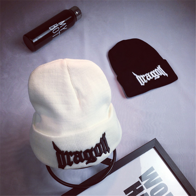 Hooded cold hat black embroidery letter knit wool wild men and women autumn winter tide