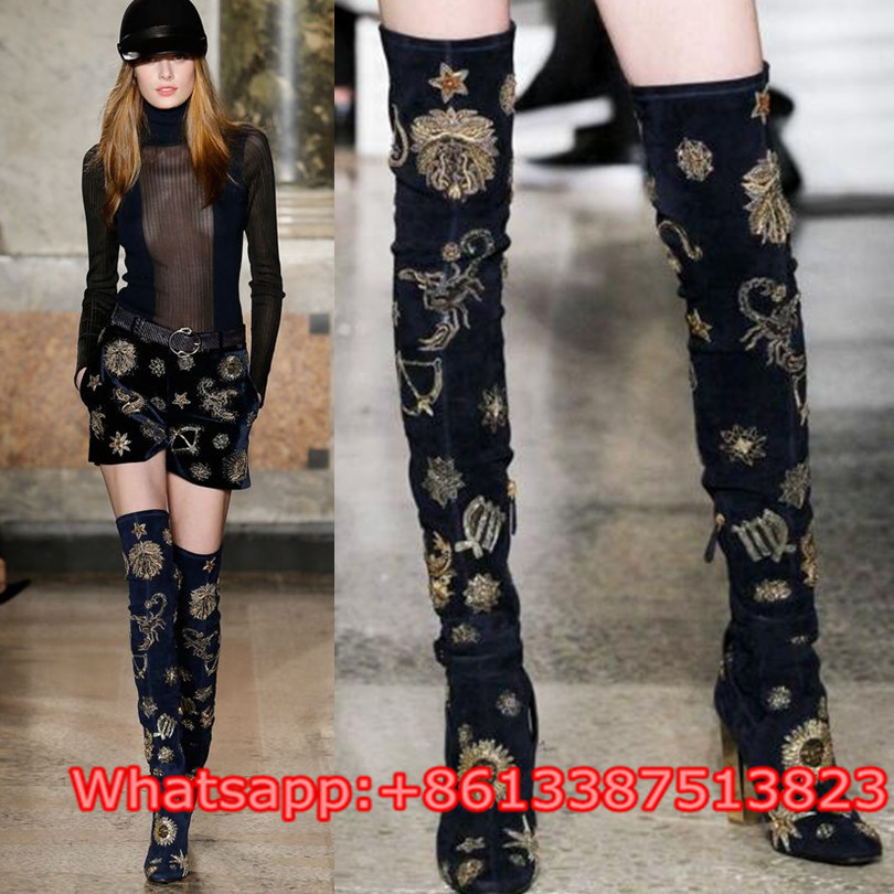 Embroidery Belt Buckle Embellished Over The Knee Long Boots Blue Suede Block High Heels Women Thigh High Boots Shoes Women Boots peter block stewardship choosing service over self interest