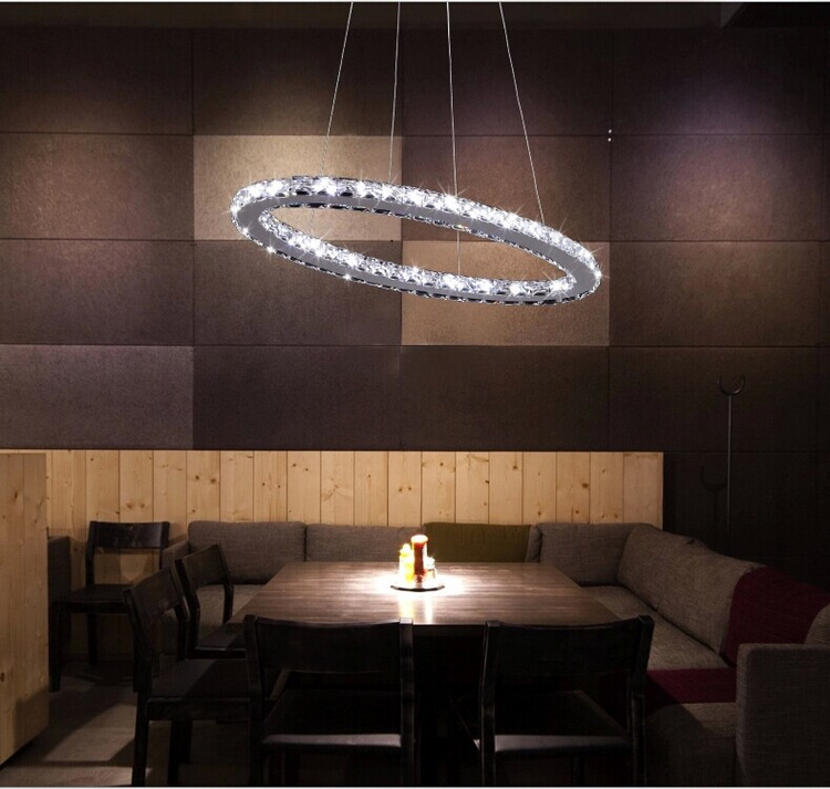 Luxury modern stainless steel k9 crystal LED pendant lamp home lighting fixture for bar bed room study room free shipping luxury k9 crystal chandeliers lighting fixture with different size free shipping