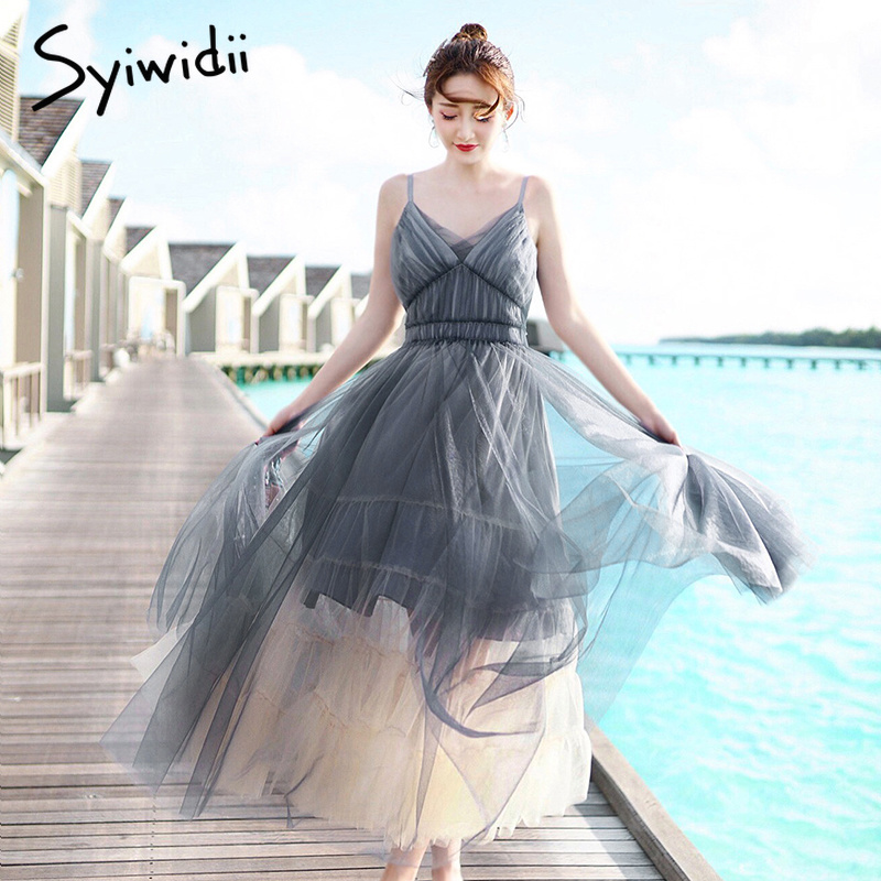 Syiwidii femmes robe gris couche maille fête longue robe col en V élégant Spaghetti sangle Club robes plage Maxi 2019 mode robe
