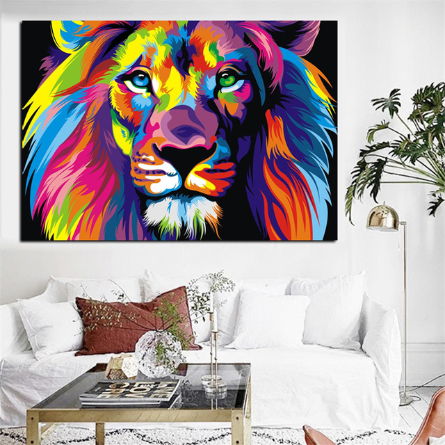 Big size pop art print colorful lion animals abstract oil painting on canvas poster modern wall