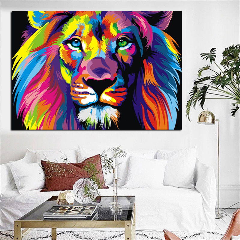 Big Size Pop Art Print Colorful Lion Animals Abstract Oil Painting on Canvas Poster Modern Wall Art Picture for Kid Room Decor