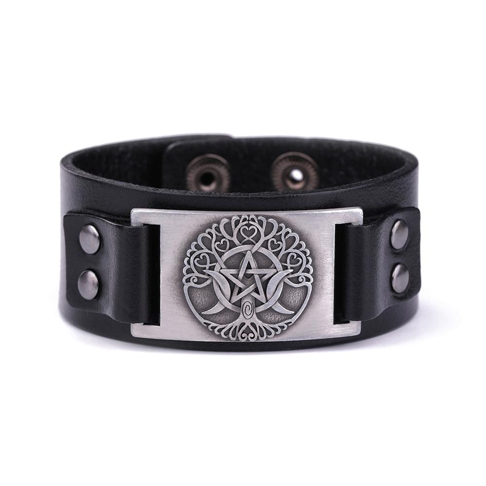 Dawapara Triple Moon Goddess Tree Of Life Leather Bracelet Wiccan Pentagram Amulet Cuff Bangle цена 2017