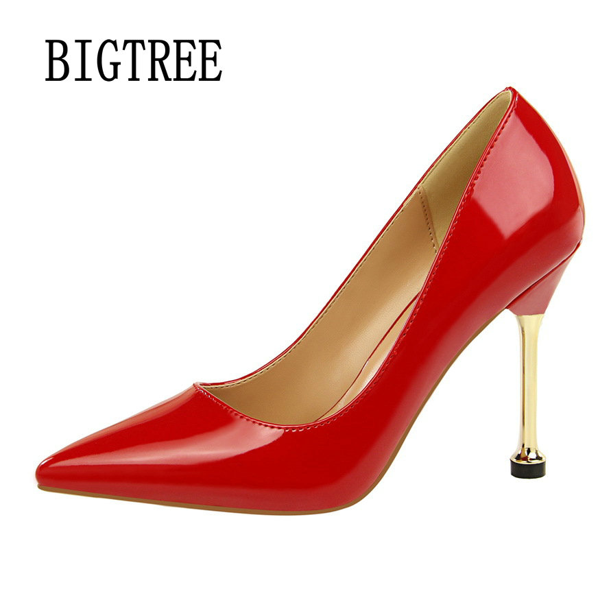BIGTREE Women Pumps High Heels Red Glitter Wedding Shoes Woman Shallow  High Heels Sexy Ladies Shoes Women High Heel Pumps 171-2 [saziae] red bottom high heels women pumps glitter high heel shoes woman sexy wedding party shoes gold black female sexy pumps